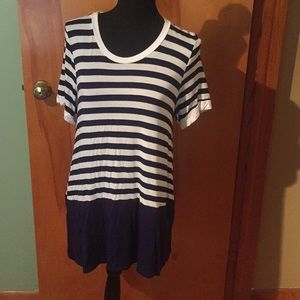 First Look Navy/white striped tunic